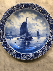 Royal Delft handpainted dutch plate ship