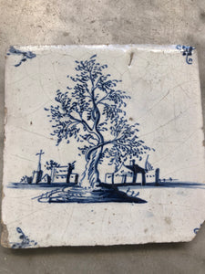 Nice delft tile with tree around 1730