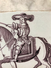 Load image into Gallery viewer, Very rare manganese handpainted dutch delft tile with nobleman