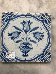 Rare 17 th century delft tile with flowervase