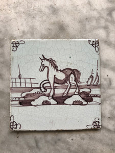 Handpainted dutch delft tile with horse
