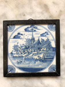 Very nice 18 th century delft tile with landscape