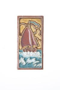 Royal Delft handpainted dutch tile with ship