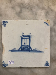 Delft handpainted dutch tile with waterpit