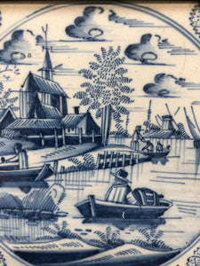 18 th century delft tile with landscape