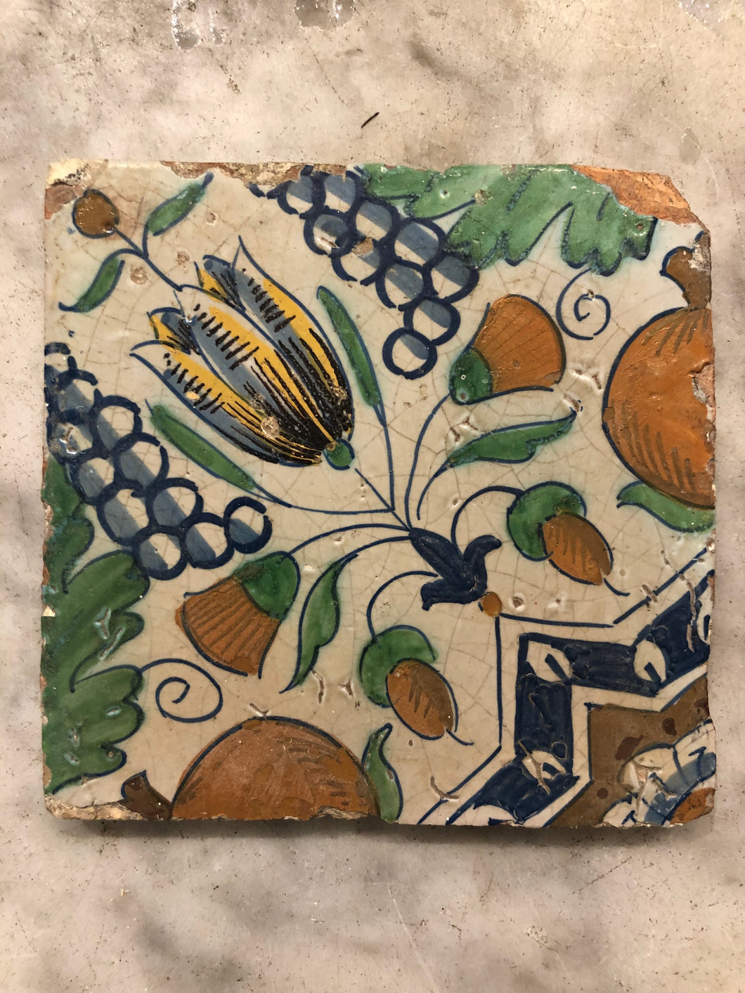 17 th century delft tile with tulip