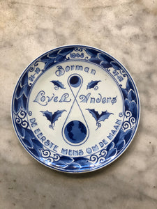 Royal Delft handpainted dutch plate man on the moon
