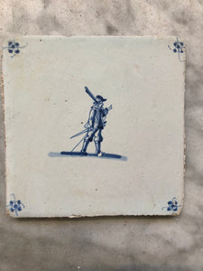 Nice 17 th century delft tile with soldier