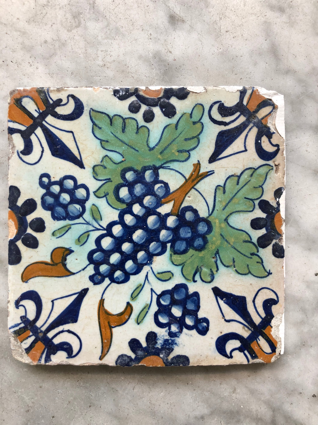Early 17 th century delft tile grape