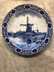 Royal Delft handpainted dutch plate with windmill