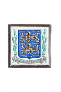 Royal Delft handpainted dutch tile with coats off arms off Friesland