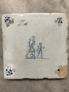 17th century rare Delft handpainted dutch tile with boy and father