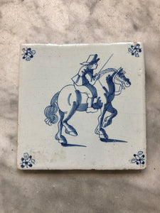 Nice rare 17 th century delft tile with horseman