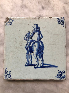 17th century delft tile horseman