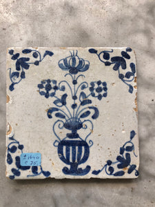 Delft handpainted dutch tile with flowervase