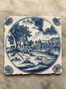 18 th century delft tile bible scene