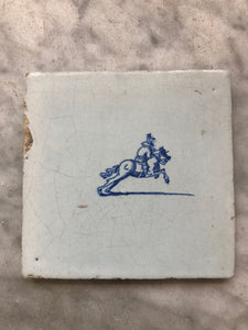 Nice 17 th century delft tile with horseman