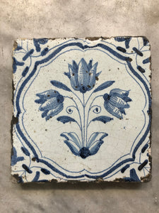 17 th century Delft handpainted dutch tile tulips