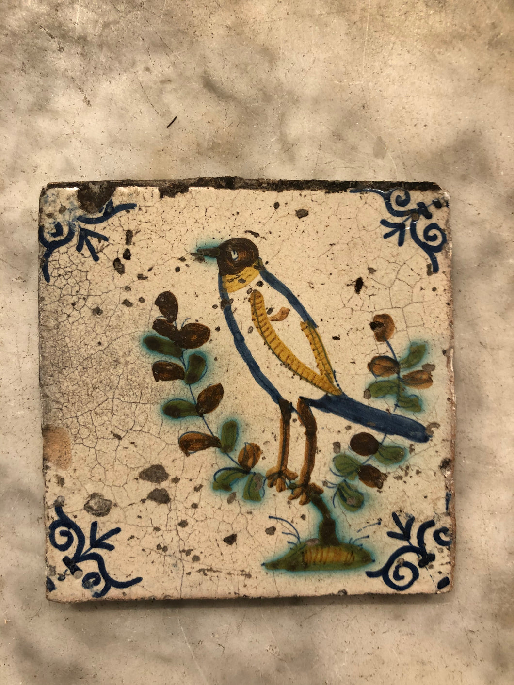 17 th century delft tile with polychrome bird