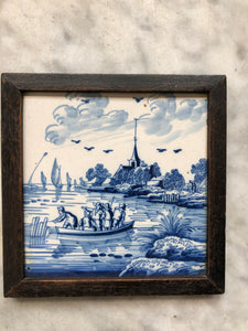 Rare nice 18 th century delft tile with landscape