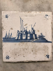 18 th century delft tile with city / castle