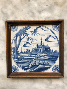 Nice 18 th century delft tile with landscape