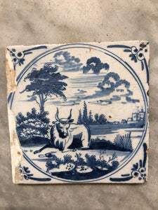 18th century Delft handpainted dutch tile with cow