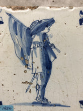Load image into Gallery viewer, Handpainted dutch delft tile 17 th century with soldier