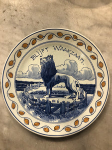 Royal Delft handpainted  ww1 dutch 1918 plate
