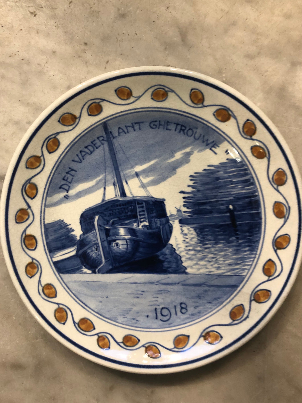 Rare ww1 Delft handpainted dutch plate ship 1918