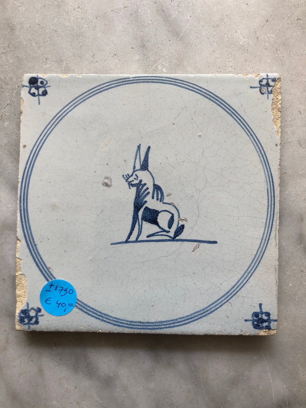 Delft 18 th century tile with animal