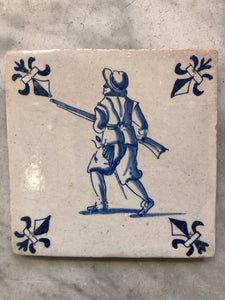 Delft handpainted dutch tile soldier