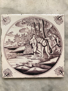 18 th century delft tile with Adam and Eve