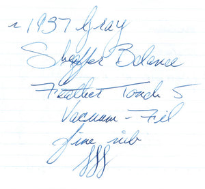 ~1937 Gray Sheaffer Balance Standard Size - fine Feather Touch 5 nib - Vacuum-Fil