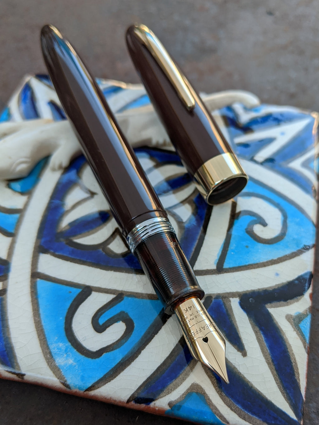 1949 Umber Sheaffer Touchdown Statesman - fine/extra-fine