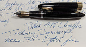 1948 Black Sheaffer Triumph Tuckaway Sovereign - Vacuum-Fil - open, extra-fine nib