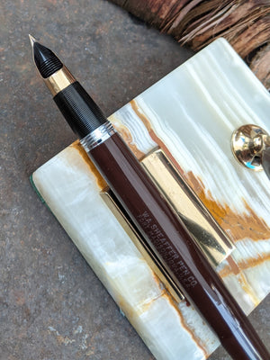 1949 Umber Sheaffer Touchdown Desk pen - fine-medium nib