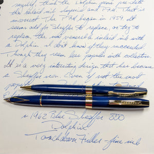 ~1962 blue Sheaffer 800 set (Dolphin) Touchdown
