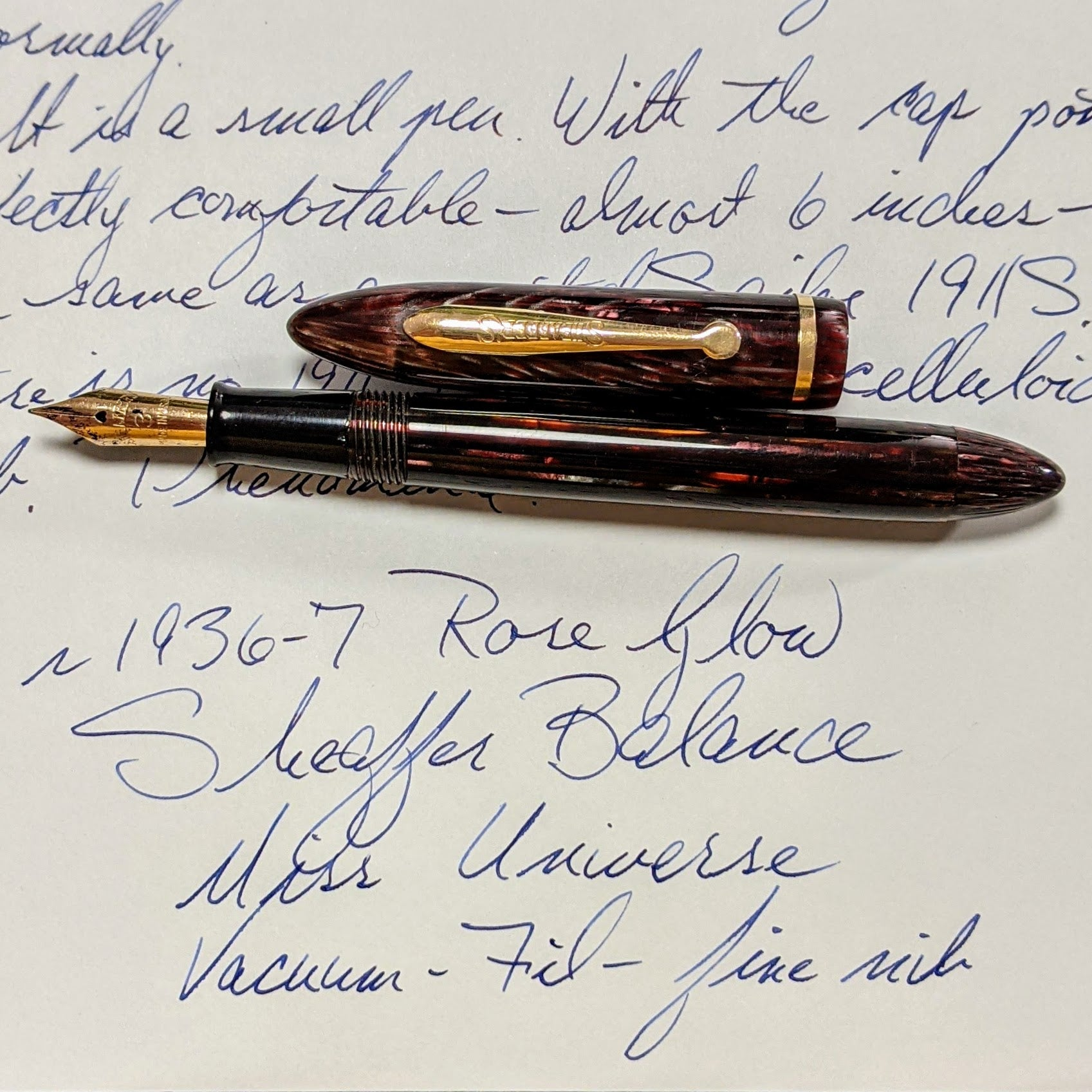1936-7 Rose Glow Sheaffer Balance Miss Universe