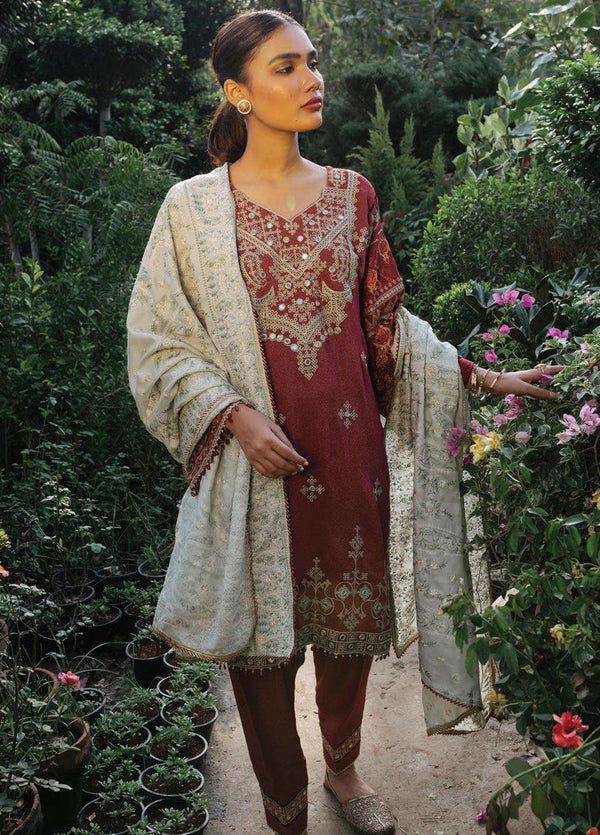 Ladies Un-Stitch Embroidered Jacquard With Luxury Shawl Of Rehab Collection By Qalamkar Sheesha-Kari QWK-06