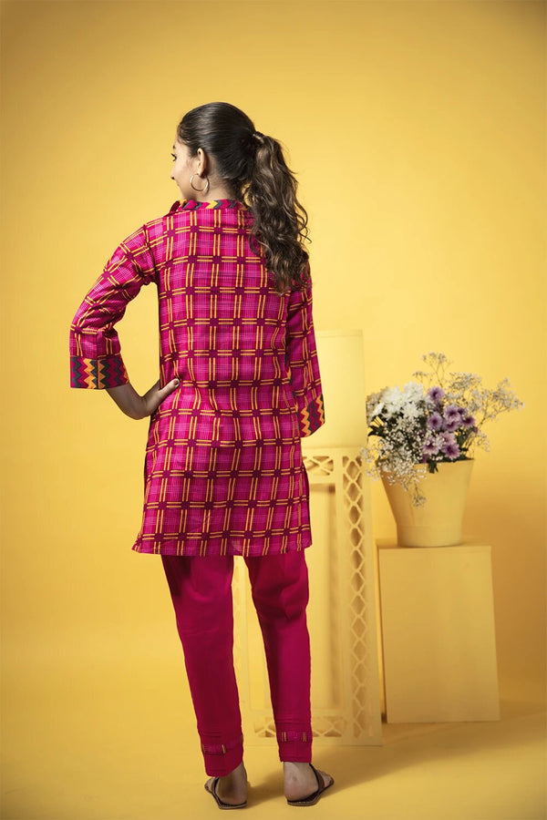 Girls Casual 3 Piece Suit Cotton Cambric Print GAD-01351 Shocking Pink