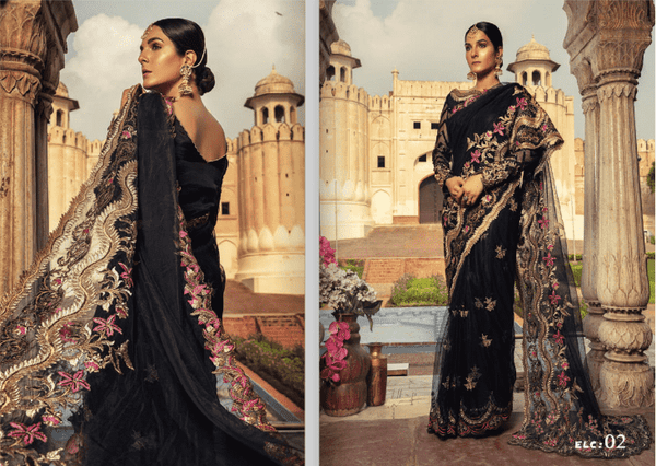 Ladies Un-Stitch Sifona Embroidered Zari Net Saree SFE18L 02 Luxury Collection