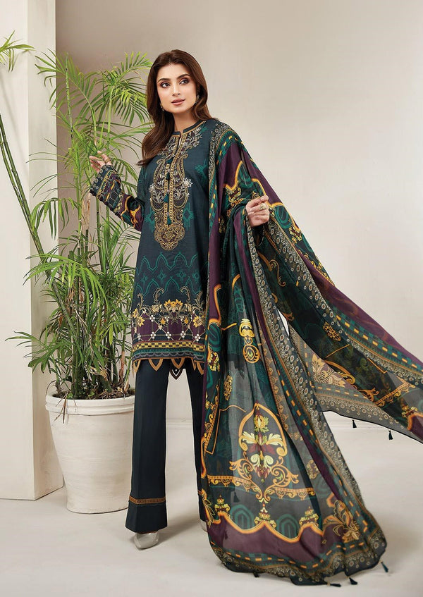 Ladies Un-Stitch Embroidered Lawn Collection 2020 By Farasha Tropical Tourmaline