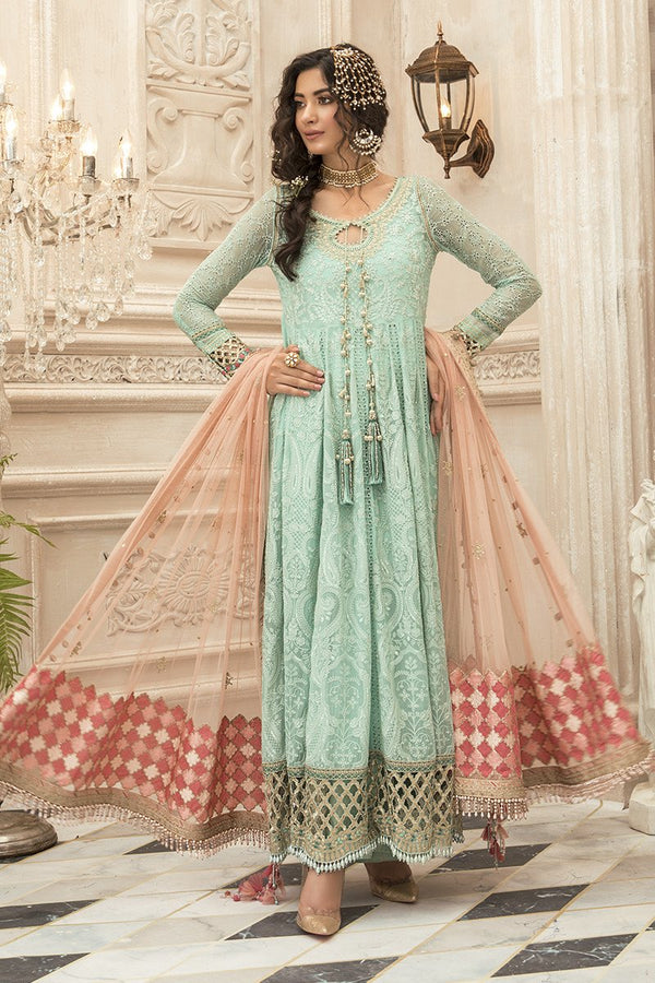 Ladies Un Stitch 3pcs Mbroidered Eid Collection By Maria B Sea Green (BD-1908)