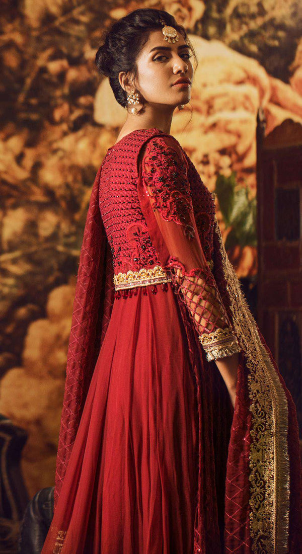 Ladies Un-Stitch Adan's libas Wedding Festive Guzarish Chiffon Collection 05-AnarKali