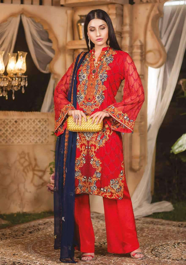 Ladies Un-Stitch Irha Embroidered Chiffon Collection by Zebaish PERSIAN RED
