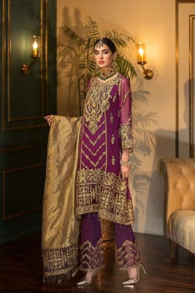 Mohagni Ladies Un-Stitch 3pc Embroidered Sangeet Chiffon Collection MX-02