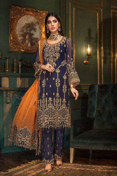 Mohagni Ladies Un-Stitch 3pc Embroidered Sangeet Chiffon Collection MX-04