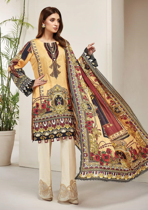Ladies Un-Stitch Embroidered Lawn Collection 2020 By Farasha Primrose Dream