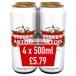 Stella 4 pack (500ml)